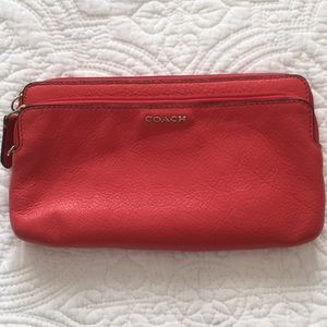 Red Coach Leather Wallet - Large
